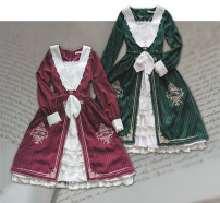 Dress Spring 2020 Dark green stripe, dark red stripe, light gray green, strong cyanosis S,M,L,XL Middle-skirt singleton  Long sleeves Sweet Admiral middle-waisted Solid color Socket Cake skirt routine Others 18-24 years old Type X other Bow, ruffle, embroidery, lace 81% (inclusive) - 90% (inclusive)