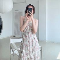 Dress Summer 2021 Soft powder S, M Mid length dress singleton  Sleeveless commute V-neck High waist Broken flowers A-line skirt camisole Type A 21408W-LYQ19501 More than 95%