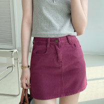 skirt Summer 2021 S, M claret Short skirt commute High waist A-line skirt Solid color Type A BSQ716 91% (inclusive) - 95% (inclusive) cotton
