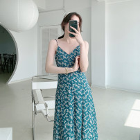 Dress Summer 2021 Broccoli S,M,L longuette singleton  Sleeveless commute V-neck High waist Broken flowers routine Others Type A printing 21410SK-LYQ36907 More than 95% other