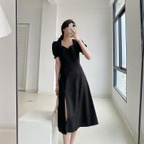 Dress Summer 2021 black S, M Mid length dress singleton  Short sleeve V-neck High waist Solid color A-line skirt puff sleeve Type A 21319SK-LYQ4189 More than 95%