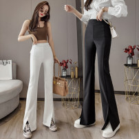 Casual pants White black S M L XL Summer 2021 trousers Straight pants High waist commute Thin money 25-29 years old Korean version pocket Other 100% Pure e-commerce (online only)