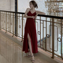 Dress Summer 2020 claret S M L longuette singleton  Sleeveless commute V-neck High waist Solid color Socket A-line skirt camisole 18-24 years old Type A Mei Xin Retro backless NIPT78759 More than 95% other Other 100% Pure e-commerce (online only)