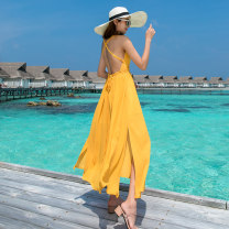 Dress Summer of 2019 Bright yellow S M L longuette singleton  Sleeveless Sweet V-neck High waist Solid color Socket Big swing other camisole 18-24 years old Type A Mei Xin More than 95% Chiffon polyester fiber Polyester 100% Bohemia
