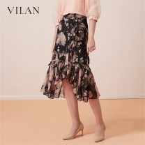skirt Spring 2020 155/64A,160/68A,165/72A,170/76A Pink flowers Middle-skirt commute Natural waist Princess Dress Decor 25-29 years old J1001CQ3 More than 95% other Vivian / Huilan polyester fiber Stitching, printing lady