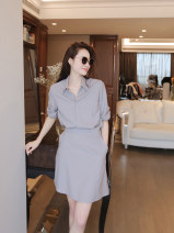 Dress Summer 2021 Grey Navy S M L XL Short skirt singleton  Short sleeve commute middle-waisted Solid color Socket A-line skirt routine 25-29 years old Jiamanying Retro More than 95% other Other 100% Pure e-commerce (online only)