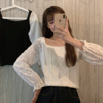 Wool knitwear Spring 2021 Average size White black Long sleeves singleton  Socket other More than 95% Regular Thin money commute easy square neck puff sleeve Solid color Socket Korean version 18-24 years old Gehan Meiyi Gouhua hollow Other 100.00% Exclusive payment of tmall
