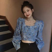 shirt Picture color Average size Spring 2021 other 96% and above Long sleeves commute Short style (40cm < length ≤ 50cm) square neck Socket Wrap sleeves Broken flowers 18-24 years old Straight cylinder Gehan Meiyi Korean version Printed fold Other 100.00% Exclusive payment of tmall