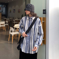 shirt blue S M L XL Spring 2021 other 96% and above Long sleeves commute Regular Polo collar Single row multi button shirt sleeve stripe 18-24 years old Straight cylinder Gehan Meiyi Korean version 9161# Button Other 100.00% Exclusive payment of tmall