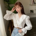 shirt white shirt S M L XL Spring 2021 other 96% and above Long sleeves Versatile Regular V-neck Socket pagoda sleeve Solid color 18-24 years old Straight cylinder Gehan Meiyi Lotus leaf edge Other 100.00% Exclusive payment of tmall