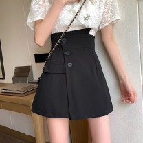 Casual pants Black Pink S M L Summer 2020 shorts Wide leg pants High waist commute Thin money 18-24 years old 30% and below Gehan Meiyi other Korean version Button Other 100.00% Pure e-commerce (online only) Asymmetry