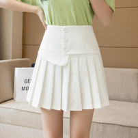 skirt Spring 2021 S M L XL 2XL Black and white Short skirt Versatile High waist Pleated skirt Solid color Type A 18-24 years old XH2110#34 91% (inclusive) - 95% (inclusive) Leisure trace other fold New polyester 95% other 5% Pure e-commerce (online only)