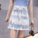 skirt Summer 2021 S M L XL Blue black Short skirt Versatile High waist A-line skirt stripe Type A 25-29 years old XH6751#29 91% (inclusive) - 95% (inclusive) Leisure trace other zipper New polyester 95% other 5% Pure e-commerce (online only)
