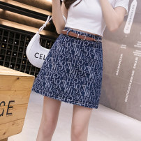 skirt Summer 2021 S M L XL 2XL Dark blue light blue Short skirt commute High waist A-line skirt lattice Type A 25-29 years old XH1015 # thirty-three 91% (inclusive) - 95% (inclusive) Denim Leisure trace other zipper Korean version New polyester 95% other 5% Pure e-commerce (online only)