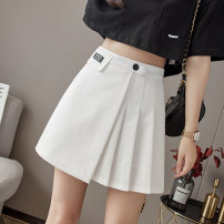skirt Spring 2021 S M L XL Black and white Short skirt Versatile High waist A-line skirt Solid color Type A 18-24 years old XH9339#35 91% (inclusive) - 95% (inclusive) Leisure trace other fold New polyester 95% other 5% Pure e-commerce (online only)