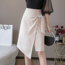 skirt Spring 2021 S M L Black apricot Short skirt commute High waist A-line skirt Solid color Type A 25-29 years old XH5501#38 91% (inclusive) - 95% (inclusive) Leisure trace other zipper Korean version New polyester 95% other 5% Pure e-commerce (online only)