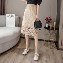 skirt Summer 2021 S M L XL Khaki black longuette Versatile High waist A-line skirt Solid color Type A 25-29 years old XH8310#38 91% (inclusive) - 95% (inclusive) Lace Leisure trace other Lace New polyester 95% other 5% Pure e-commerce (online only)