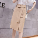 skirt Summer 2021 S M L XL Apricot black Khaki Mid length dress commute High waist A-line skirt Solid color Type A 25-29 years old XH6738#42 91% (inclusive) - 95% (inclusive) Leisure trace other zipper Korean version New polyester 95% other 5% Pure e-commerce (online only)