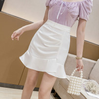 skirt Summer 2021 S M L XL White black apricot purple Short skirt Versatile High waist Ruffle Skirt Solid color Type A 25-29 years old XH9886#30 91% (inclusive) - 95% (inclusive) Chiffon Leisure trace other zipper New polyester 95% other 5% Pure e-commerce (online only)