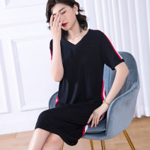 Women's large Summer 2020 black Dress singleton  commute thin Socket Short sleeve Solid color Simplicity Medium length nylon Three dimensional cutting routine Cotton Princess 40-49 years old Medium length Viscose fiber (viscose fiber) 61.5% polyamide fiber (nylon) 38.5% Pure e-commerce (online only)