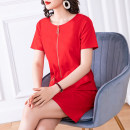 Women's large Summer of 2019 Red and black Dress singleton  commute Straight cylinder moderate Socket Short sleeve Solid color lady Crew neck Medium length Three dimensional cutting routine Cotton Princess 35-39 years old Three dimensional decoration Medium length Pure e-commerce (online only) other