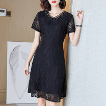 Women's large Summer of 2019 black Dress singleton  commute easy thin Socket Short sleeve Simplicity V-neck nylon Three dimensional cutting routine Cotton Princess 40-49 years old Nail bead Medium length Pure e-commerce (online only) Hollowing out