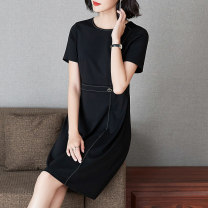 Women's large Summer 2021 black L (about 115-125 kg) XL (about 125-140 kg) 2XL (about 140-155 kg) 3XL (about 155-170 kg) 4XL (about 170-185 kg) 5XL (about 185-205 kg) Dress singleton  commute Straight cylinder thin Socket Short sleeve Solid color Simplicity Crew neck Medium length nylon routine other