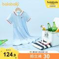 Dress female Bala 120cm 130cm 140cm 150cm 160cm 165cm Cotton 77% polyester 23% summer leisure time Short sleeve stripe Cotton blended fabric A-line skirt Class B Summer 2021 5, 6, 7, 8, 9, 10, 11, 12, 14 Chinese Mainland