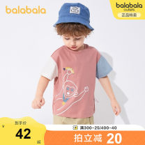 T-shirt Bala 90cm 100cm 110cm 120cm 130cm male summer Short sleeve Crew neck leisure time There are models in the real shooting nothing cotton other Cotton 100% other Summer 2021 Three years old, four years old, five years old, six years old and seven years old Chinese Mainland