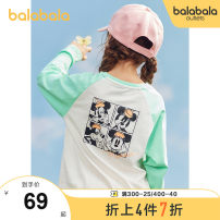 T-shirt Red purple tone 00467 white green tone 00414 black 90001 white red tone 00416 Bala 120cm 130cm 140cm 150cm 160cm 165cm female spring and autumn Long sleeves Crew neck leisure time There are models in the real shooting nothing cotton Cartoon animation Cotton 100% Class B Winter 2020