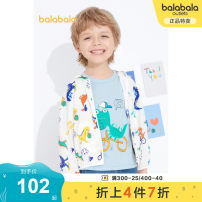 Plain coat Bala male 90cm 100cm 110cm 120cm 130cm White and blue 00318 white 10101 pink green 40362 summer leisure time Zipper shirt There are models in the real shooting Thin money No detachable cap Cartoon animation cotton Hood Cotton 100% other Summer 2021