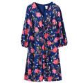 Dress Autumn of 2019 Mid length dress singleton  Nine point sleeve street V-neck High waist Big flower zipper A-line skirt More than 95% Europe and America