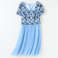 Dress Summer 2020 sky blue 8,12,18,20, standard English code for illustration only singleton  Short sleeve commute Crew neck High waist Decor Socket Pleated skirt routine Others 35-39 years old Type A Britain Lace 51% (inclusive) - 70% (inclusive) Chiffon polyester fiber
