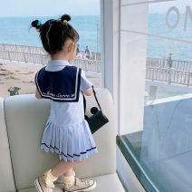 Dress Light pink, light blue, navy female Fall in love with pretty girl 80cm,90cm,100cm,110cm,120cm,130cm,140cm,150cm Cotton 95% viscose (viscose) 5% summer college Short sleeve Solid color cotton Pleats Chinese Mainland Guangdong Province Guangzhou City
