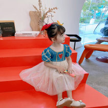 Dress Blue, blue female Fall in love with pretty girl 80cm,90cm,100cm,110cm,120cm,130cm,140cm Other 100% summer princess Short sleeve love Netting Cake skirt 12 months, 2 years old, 3 years old, 4 years old, 5 years old, 6 years old, 7 years old Chinese Mainland Guangdong Province Guangzhou City