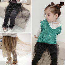 skirt 80cm,90cm,100cm,110cm,120cm,130cm,140cm,150cm Black, Khaki Fall in love with pretty girl female Other 100% spring and autumn skirt Korean version Solid color Pleats Cotton blended fabric