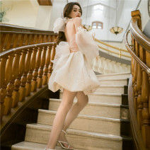 Dress Spring 2021 Apricot S,M,L Short skirt singleton  Long sleeves commute One word collar High waist Solid color Socket A-line skirt other camisole 18-24 years old Type A other