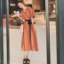 Dress Summer 2021 Dark green, vibrant orange S,M,L,XL Mid length dress singleton  Short sleeve Polo collar High waist Solid color A-line skirt routine Type H CICI LADY