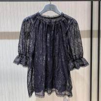 Lace / Chiffon Summer 2021 White, black 2/S,3/M,4/L,5/XL elbow sleeve Versatile Socket singleton  Self cultivation Regular stand collar Solid color pagoda sleeve Brother amashsin 5300718-1S12161-001 Lace 96% and above nylon