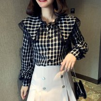 shirt black 2/S,3/M,4/L,5/XL Summer 2021 polyester fiber 96% and above Long sleeves Original design Regular Doll Collar Single row multi button routine lattice Straight cylinder Brother amashsin Splicing Chiffon