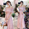 Dress Summer of 2019 Picture color S,M,L,XL longuette singleton  Short sleeve Sweet One word collar Elastic waist Decor Socket One pace skirt routine Oblique shoulder Type A Other / other printing ALF1975 More than 95% Chiffon polyester fiber Bohemia