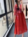 Dress Summer 2020 Purple, red, caramel Average size Mid length dress singleton  elbow sleeve commute V-neck Loose waist Decor Socket Big swing routine Hanging neck style Type A Other / other literature printing LZ8093 More than 95% hemp