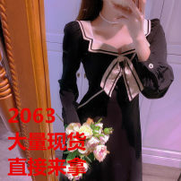 Dress Spring 2021 black S,M,L longuette singleton  Long sleeves commute V-neck High waist Solid color Socket A-line skirt routine 18-24 years old Type A Splicing polyester fiber