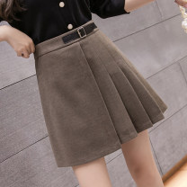 skirt Winter 2020 S,M,L,XL,2XL Black, khaki, Dark Khaki Short skirt commute High waist A-line skirt Solid color Type A 18-24 years old LLH30301580 More than 95% Wool Other / other other Lace up, zipper, stitching