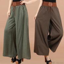 Casual pants Army green, black, coffee, khaki, navy XL [recommended 95-120 kg], 2XL [120-140 kg], 3XL [140-160 kg] Ninth pants Wide leg pants High waist