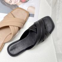 Sandals PU jiuyewaimao Square head Flat bottom Low heel (1-3cm) Summer 2021 Trochanter Youth (18-40 years old) waterproof mules  black 36