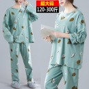 Pajamas / housewear set female Other / other 2XL (for 120-160 kg), 3XL (for 170-210 kg), 4XL (for 220-260 kg), 5XL (for 270-300 kg) Light green cotton Long sleeves Crew neck trousers