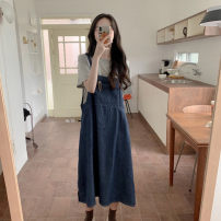 Women's large Summer 2021 Large L, large XL, s, M Dress Two piece set commute easy moderate Conjoined Sleeveless Solid color Korean version One word collar Denim 18-24 years old 51% (inclusive) - 70% (inclusive) longuette