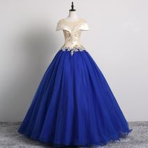 Dress / evening wear Wedding, adulthood, party, company annual meeting, show, date L,XXL,XS,S,XXXL,XL,M blue Korean version longuette middle-waisted Summer of 2019 Skirt Princess U-neck Bandage Other 100% 18-25 years old Sleeveless flower Solid color Other / other routine other Non handmade flower