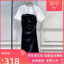 Dress Summer 2021 black Short skirt Fake two pieces Short sleeve street Crew neck High waist Solid color Socket One pace skirt routine camisole 25-29 years old Type A Lace 91% (inclusive) - 95% (inclusive) other cotton